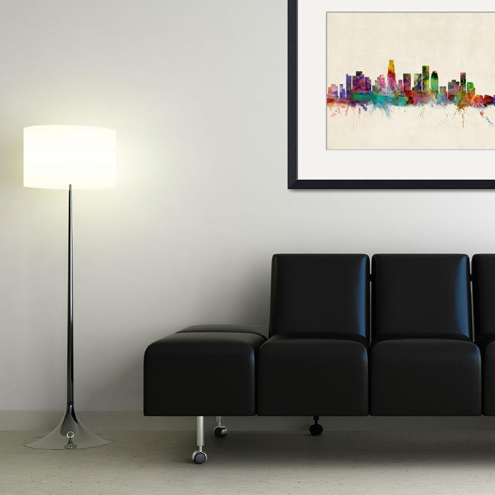 """Los Angeles City Skyline&quot  (2013) by ModernArtPrints"