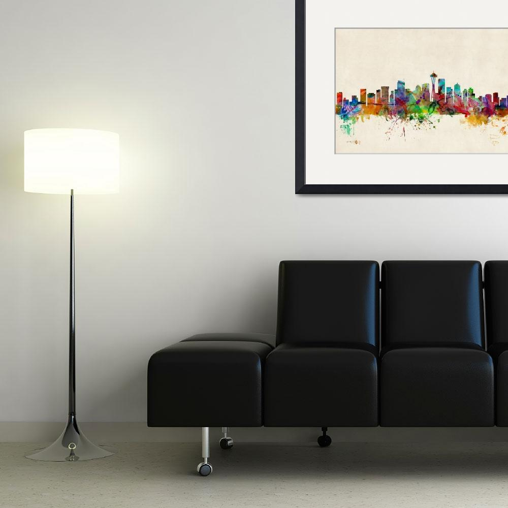 """Seattle Washington Skyline&quot  (2013) by ModernArtPrints"