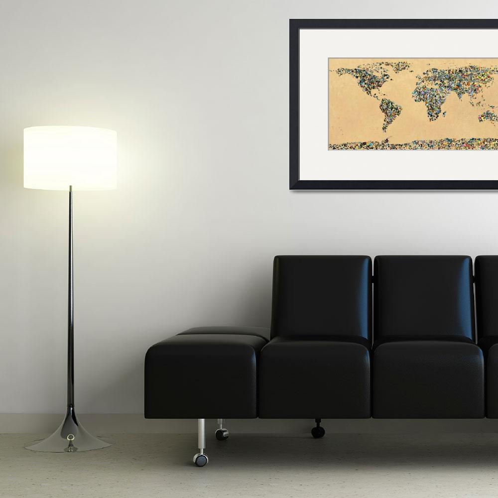 """Paint splatter world map 1&quot  (2012) by gsquared"