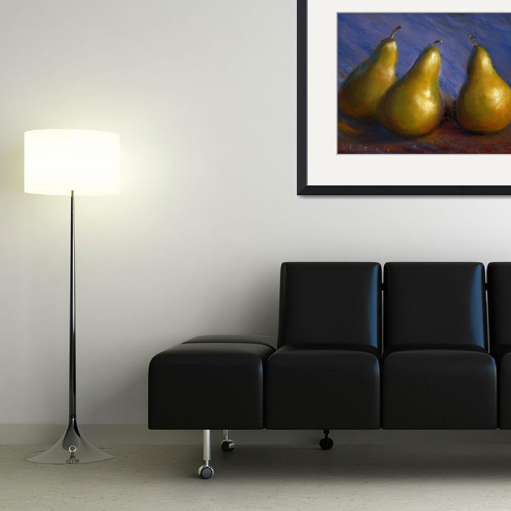 """Impressionist Art; Gold Pears in Purple&quot  (2005) by Lenora"