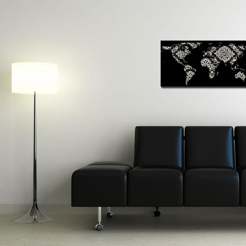 """World Map Silhouette - Patterned Mandala 02&quot  by Alleycatshirts"