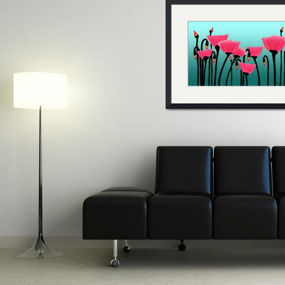 """Expressive Red Pink and Green Poppy Field y1a&quot  (2014) by Ricardos"