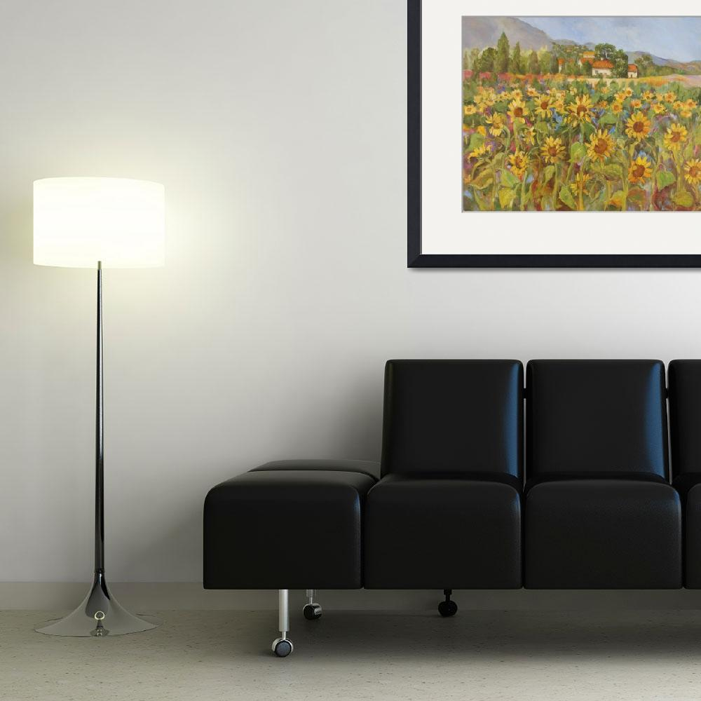 """Provence Sunflower Field&quot  (2011) by BarbaraRedingStudios"