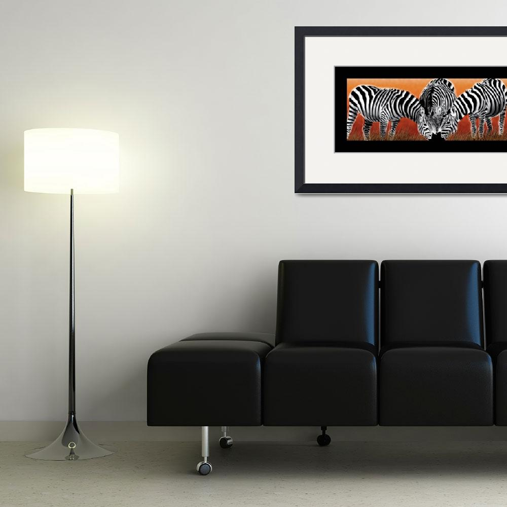 """Sunset Field Zebras&quot  (2010) by Art_By_Design_Studio"