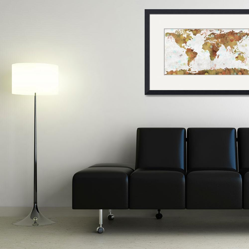 """World Map Watercolor 3&quot  by WrightFineArt"