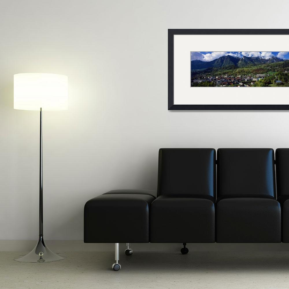 """Mountain scene with view of city in valley&quot  by Panoramic_Images"