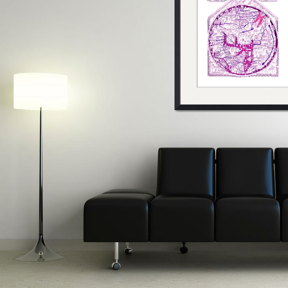 """Hereford Mappa Mundi Latin Text Violet 2 Lrg White&quot  (2014) by TheNorthernTerritory"