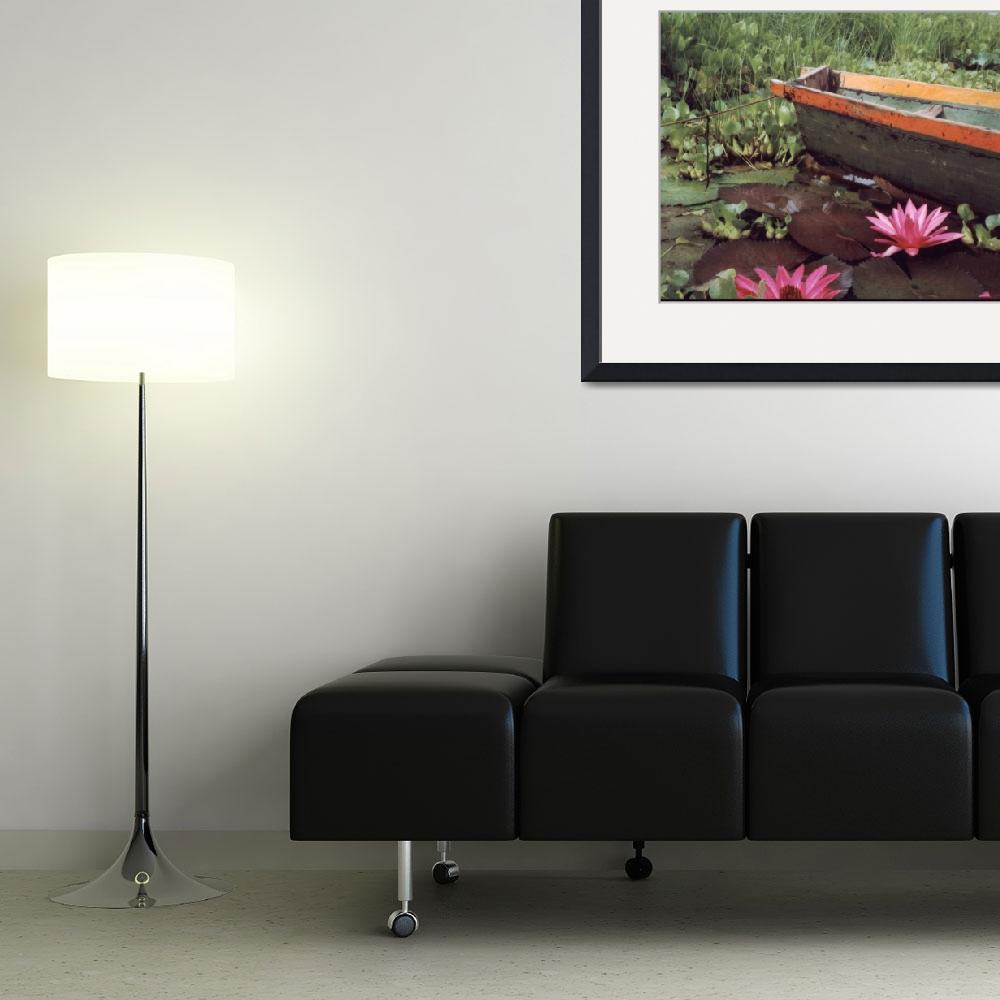 """Colombian Boat and Flowers&quot  by Lawrence"