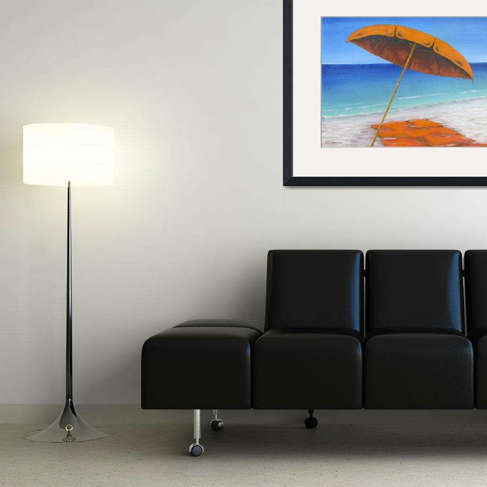 """Orange Beach Umbrella and Towel gallery wrapped&quot  (2014) by waynecantrell"