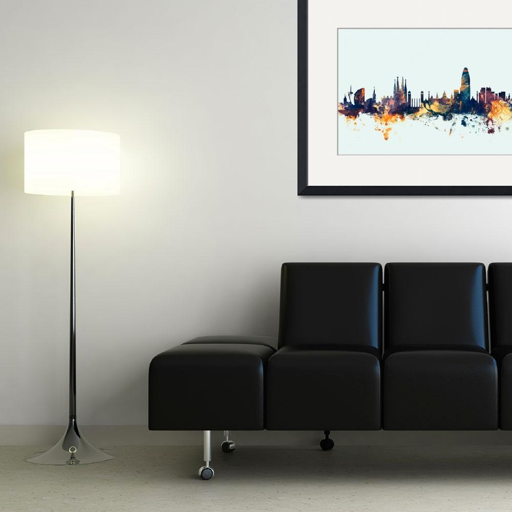 """Barcelona Spain Skyline&quot  (2015) by ModernArtPrints"