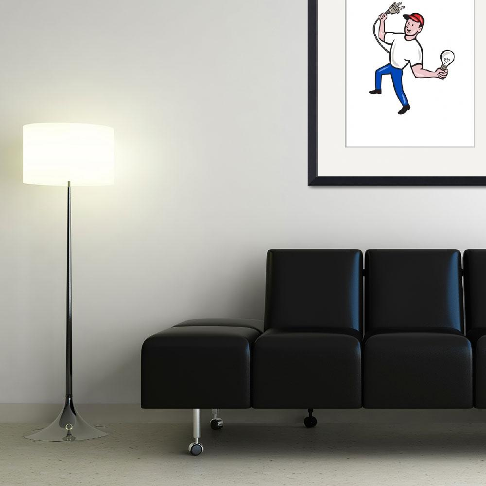"""Electrician Hold Electric Plug and Bulb Cartoon&quot  (2014) by patrimonio"