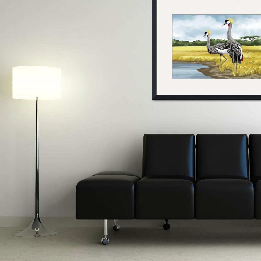 """Crowned Cranes&quot  by waterart"