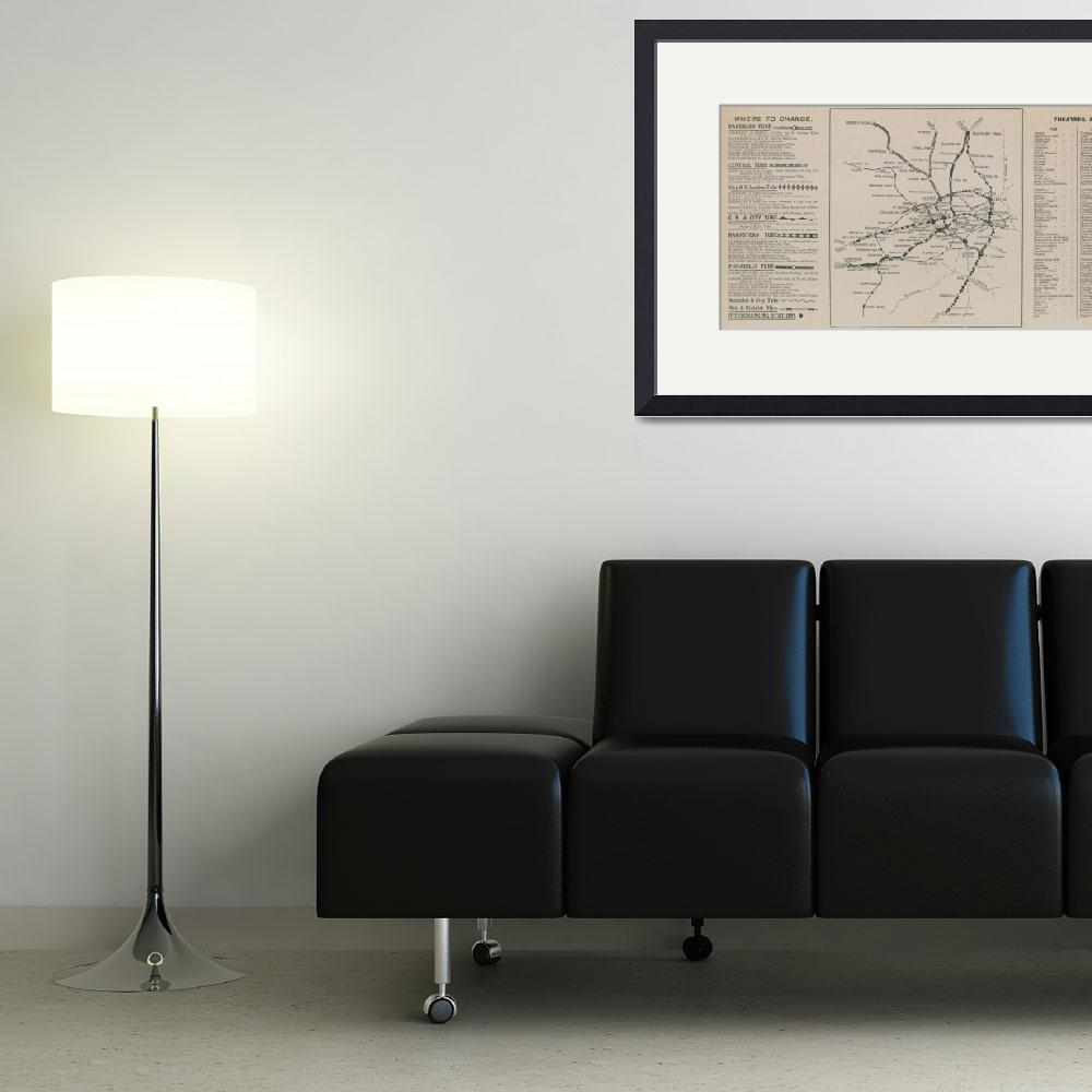 """London Underground map (engraving)&quot  by fineartmasters"