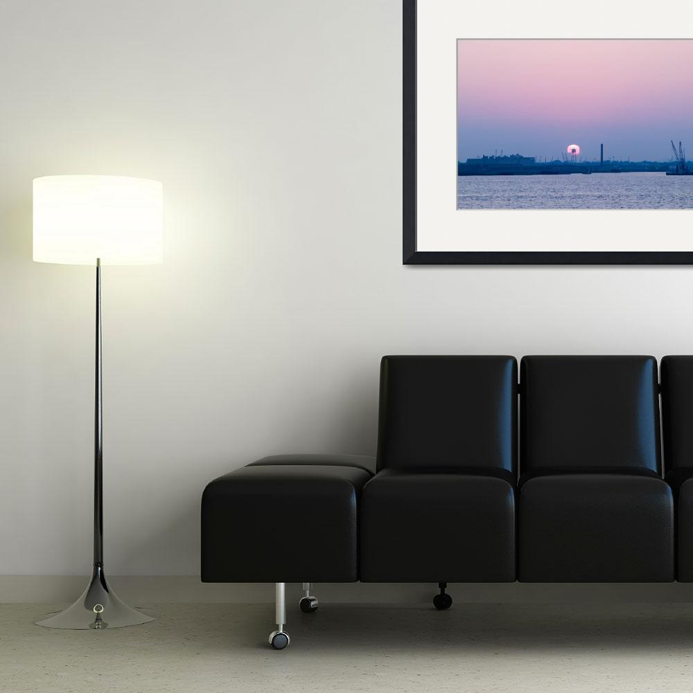 """Sunset over New York Harbor&quot  (2003) by fineartphoto"