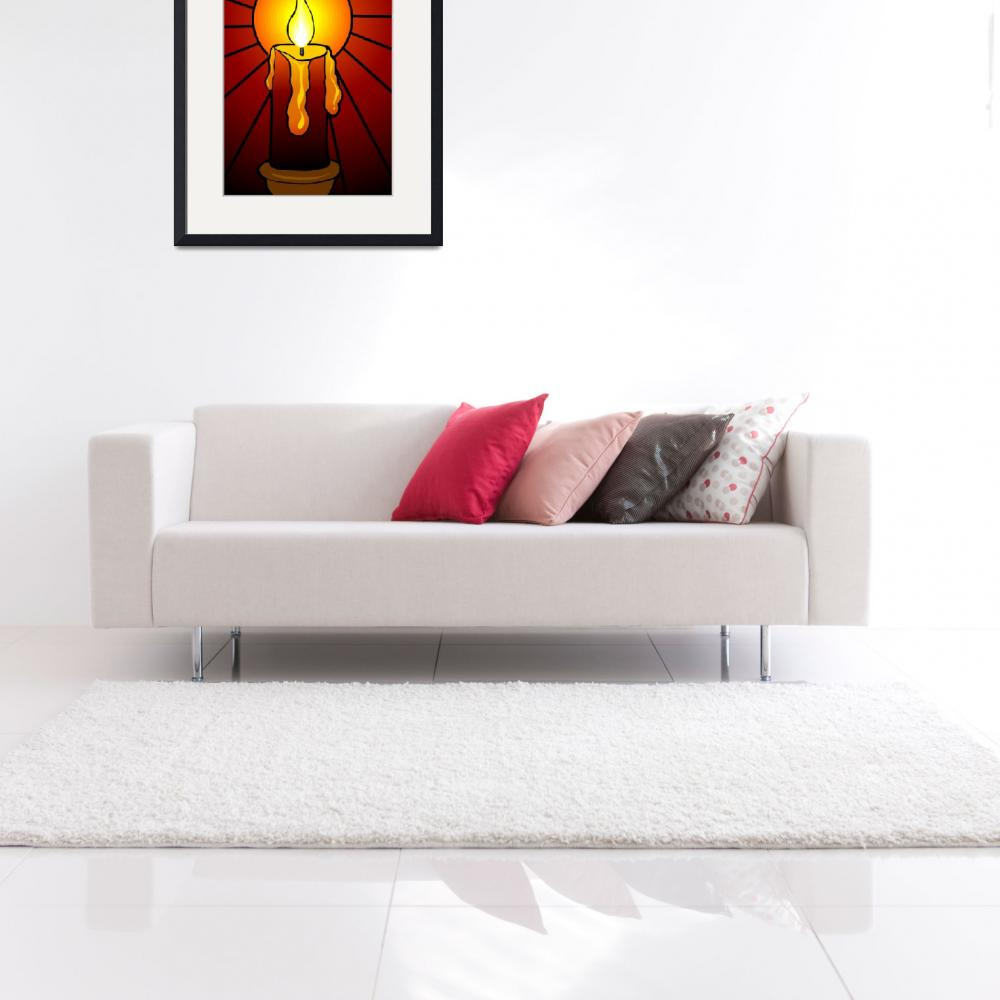 """Digital painting of a burning candle in colour bac&quot  (2009) by digitalpainting"
