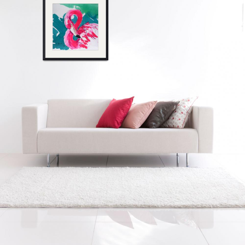 """Fabulous Flamingo Print&quot  (2004) by Greerdesigns"