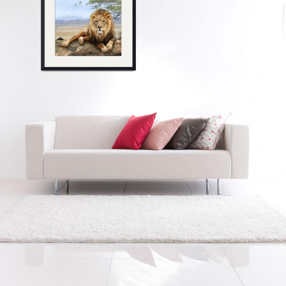 """kopje rock-- african lion reclining&quot  (2016) by rchristophervest"