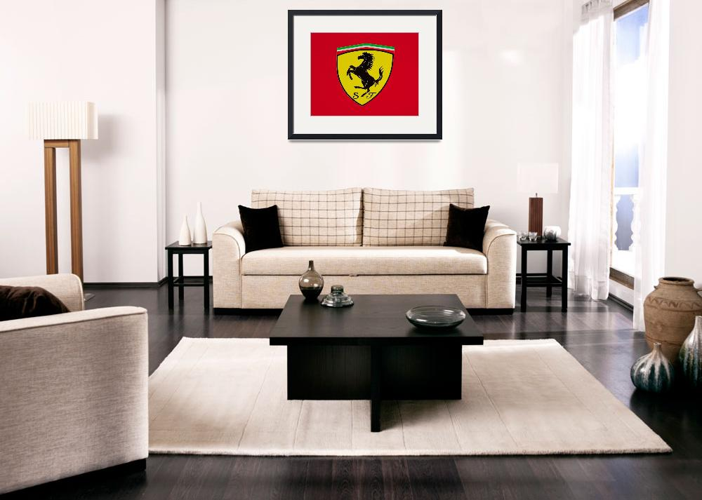 """Ferrari Shield on Red&quot  by FatKatPhotography"