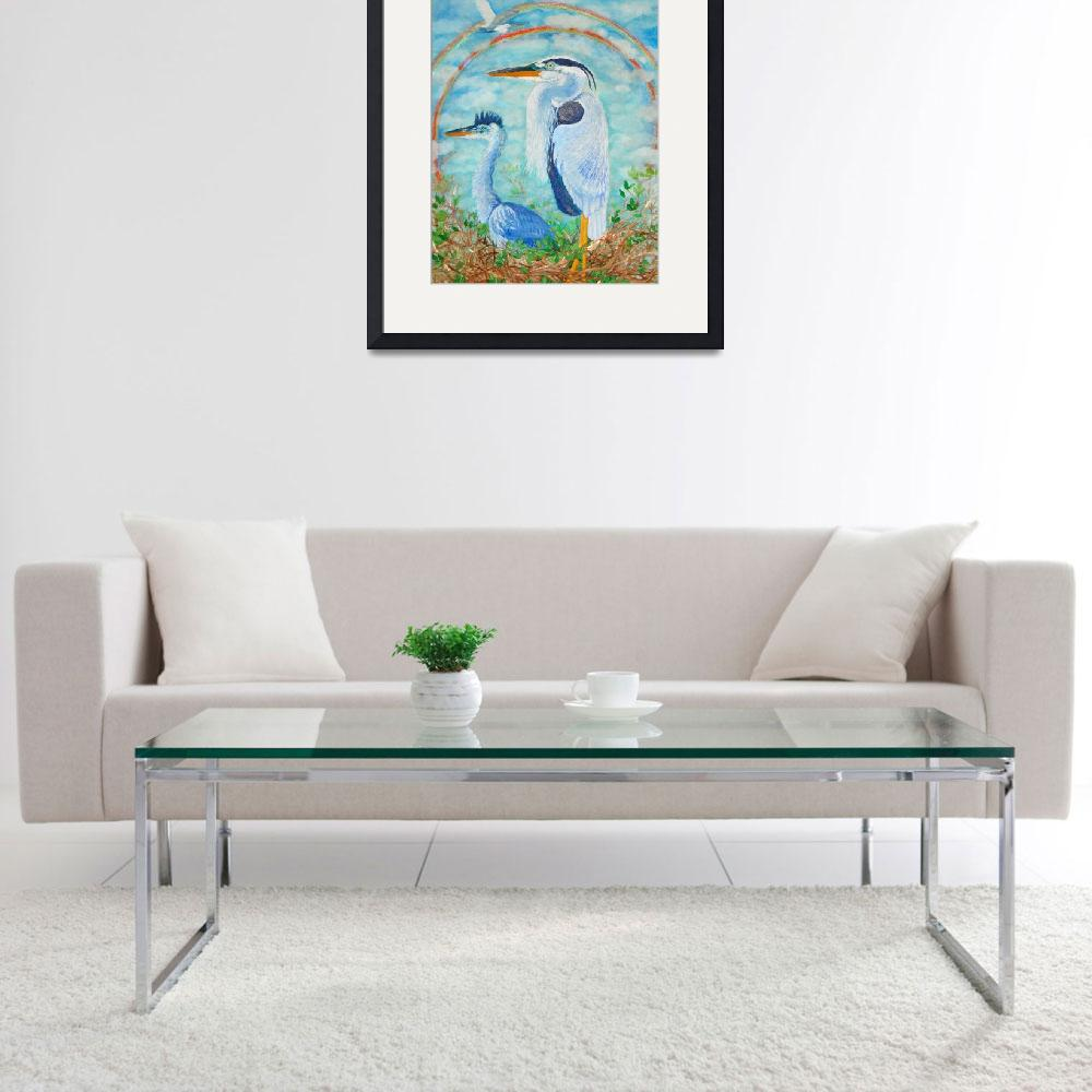 """Go on Alone- Great Blue Herons and an Egret&quot  (2011) by ArtSamadhi"