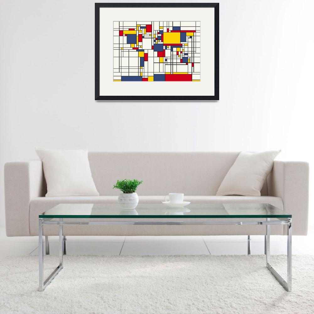 """World Map Abstract Mondrian Style&quot  (2011) by ModernArtPrints"