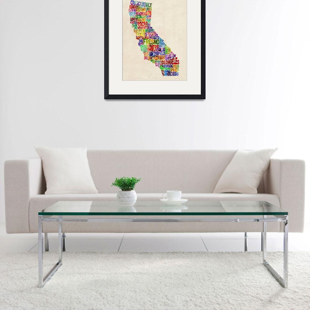 """California Typography Text Map&quot  (2013) by ModernArtPrints"