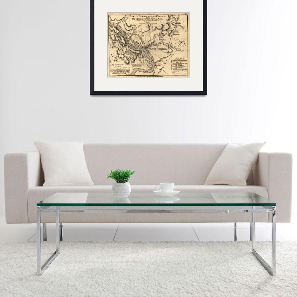 """George Washington Trenton NJ Battlefield Map 1777&quot  by Alleycatshirts"