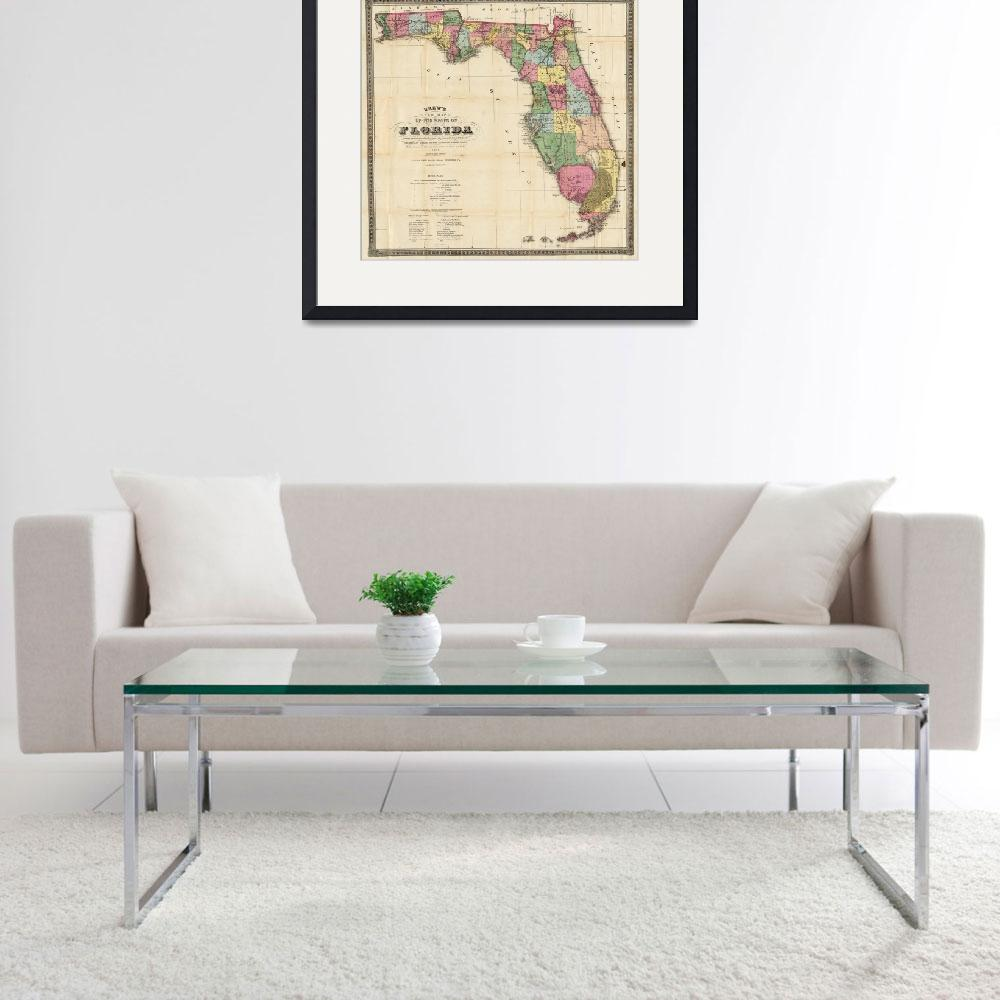 """Vintage Map of Florida (1870)&quot  by Alleycatshirts"