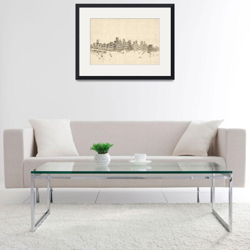 """Boston Massachusetts Skyline Sheet Music Cityscape&quot  (2014) by ModernArtPrints"