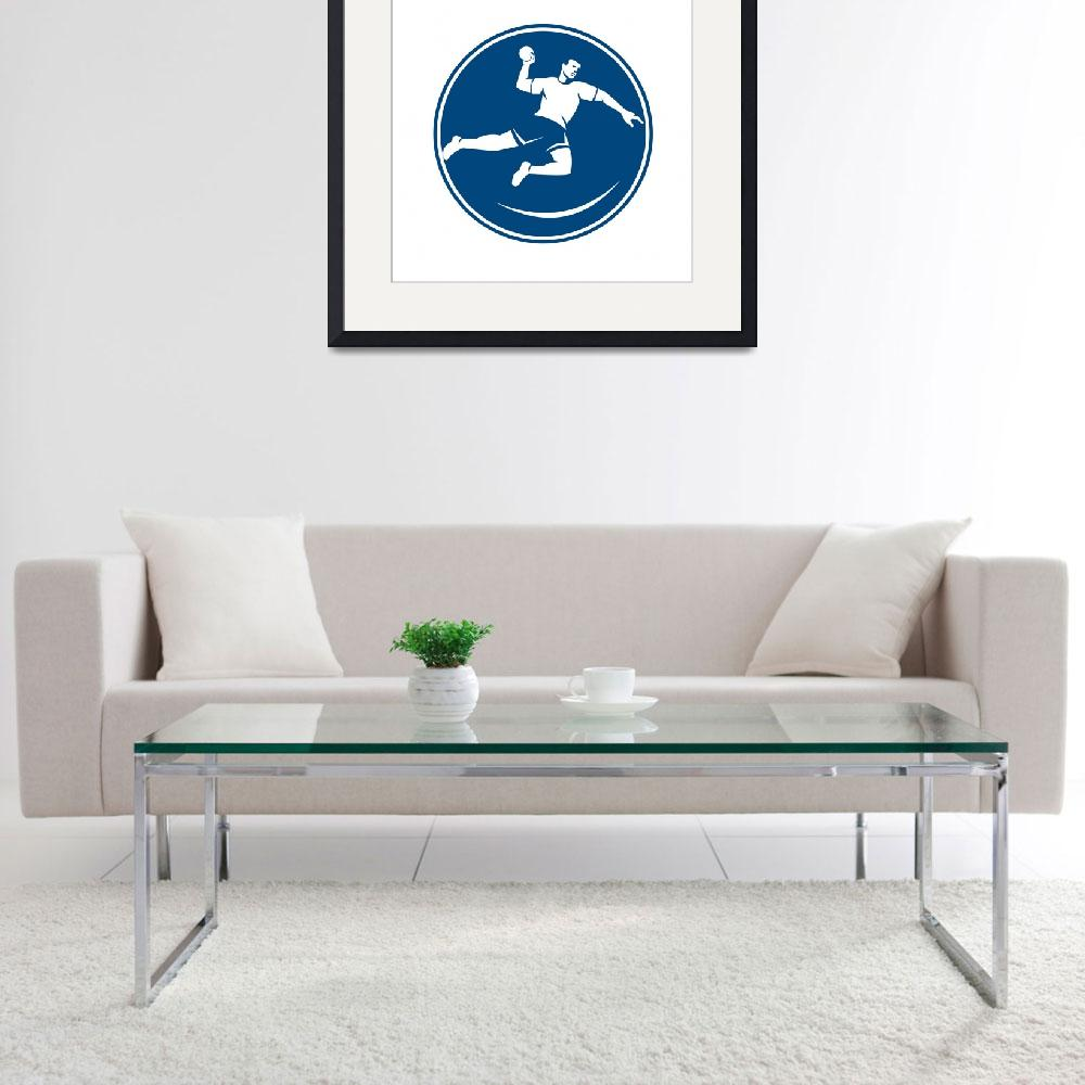 """Handball Player Jumping Throwing Ball Icon&quot  (2015) by patrimonio"