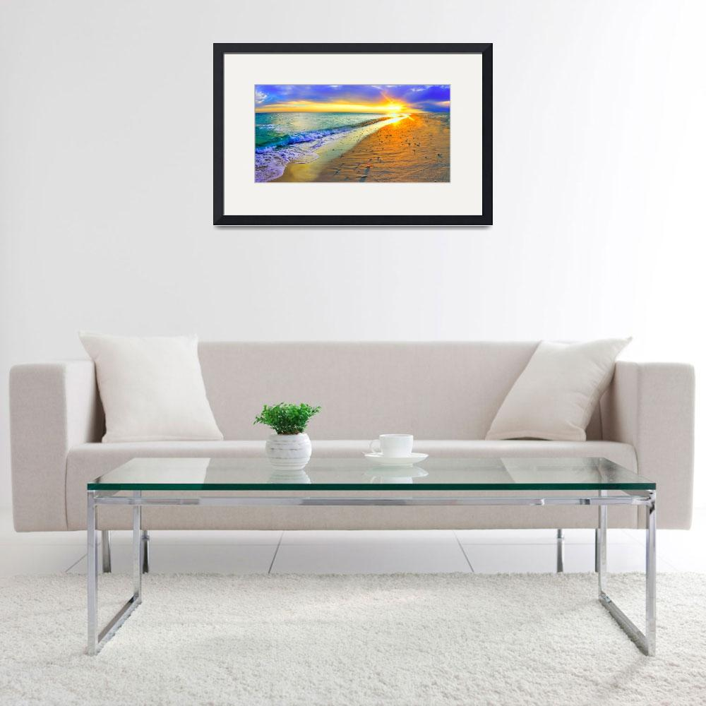 """Panoramic Sunset Beach Shells Art Print&quot  (2013) by eszra"