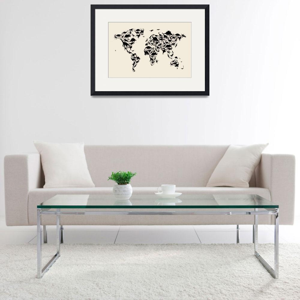 """Dinosaur Map of the World Map&quot  (2012) by ModernArtPrints"