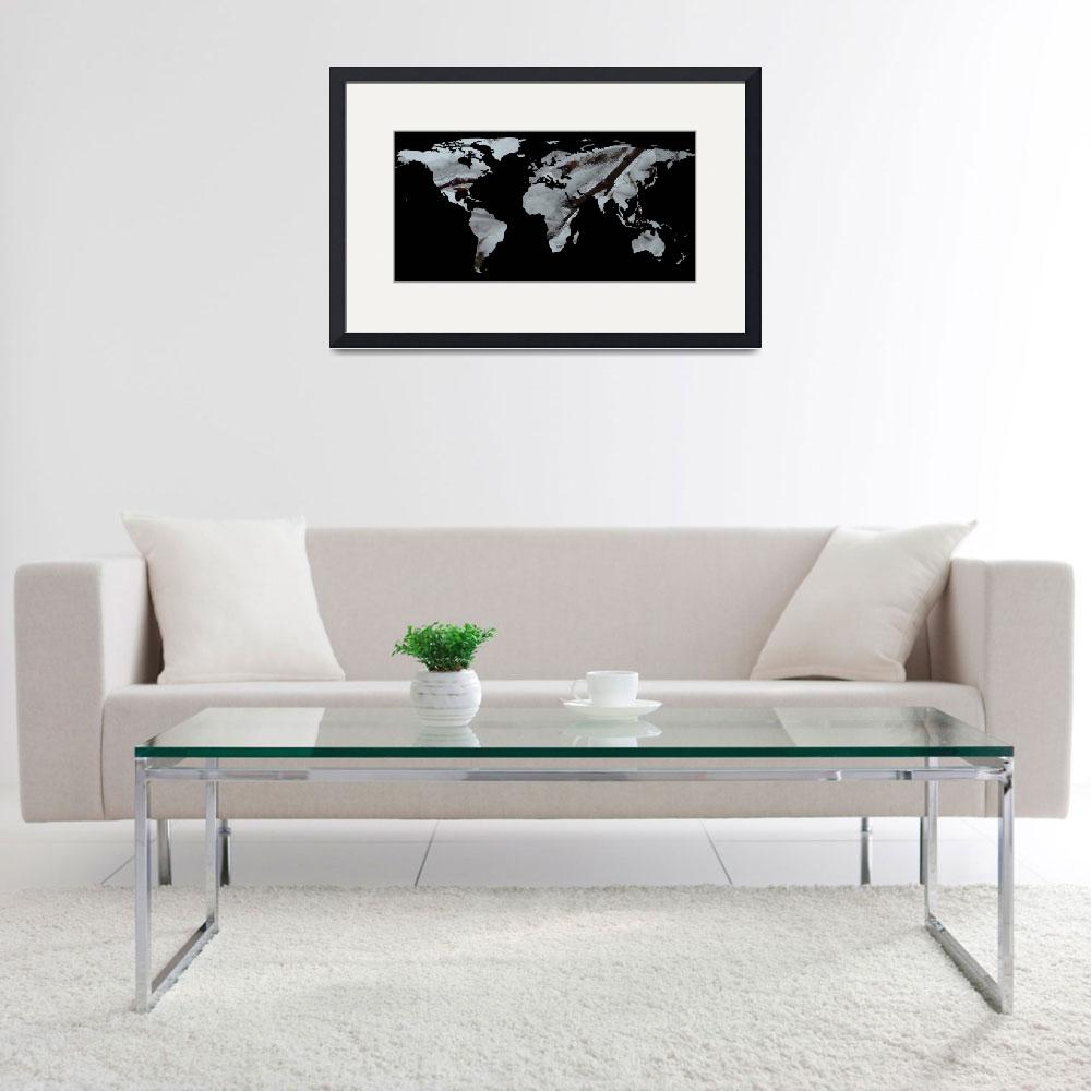 """World Map Silhouette - Frozen Winter Trees&quot  by Alleycatshirts"