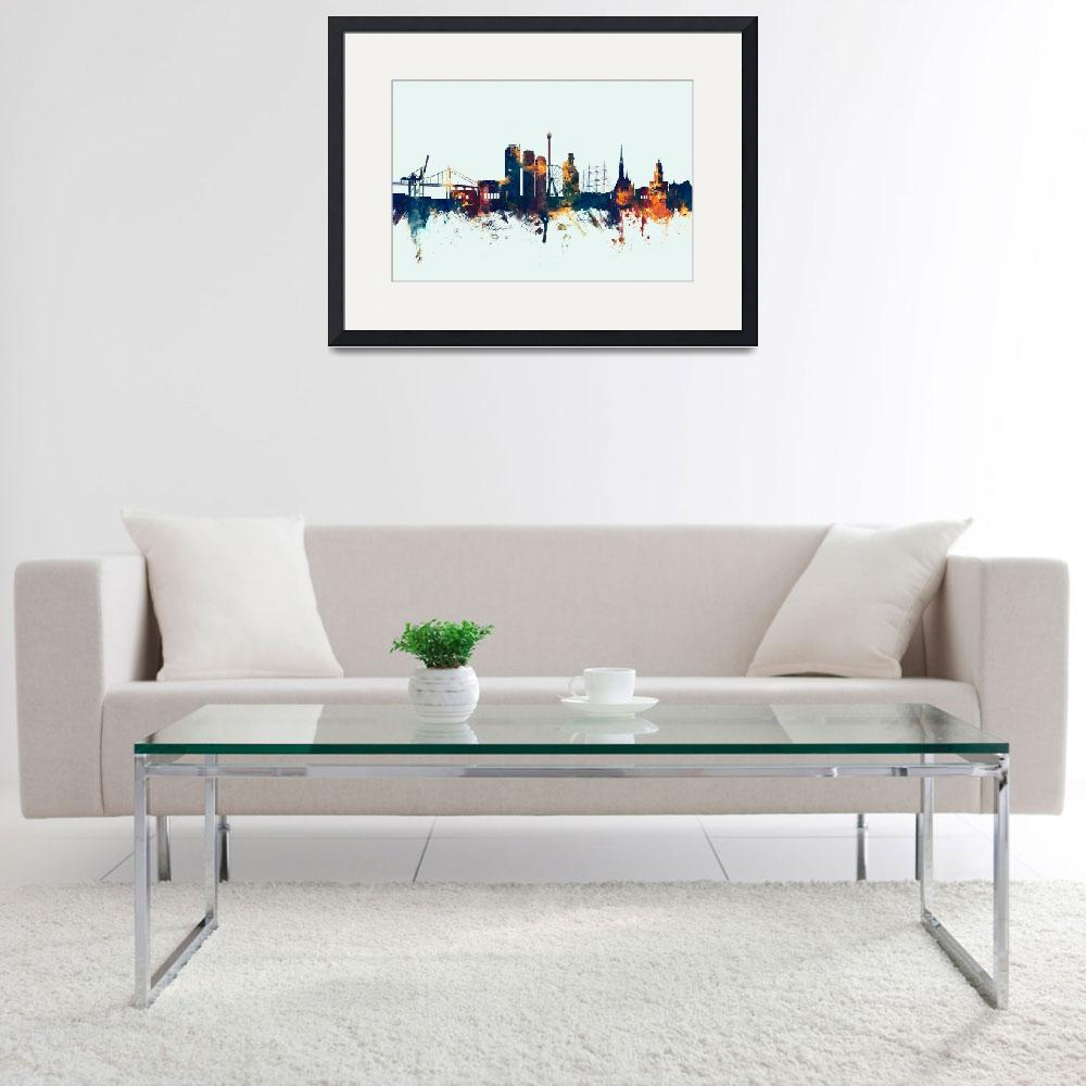 """Gothenburg Sweden Skyline&quot  (2016) by ModernArtPrints"