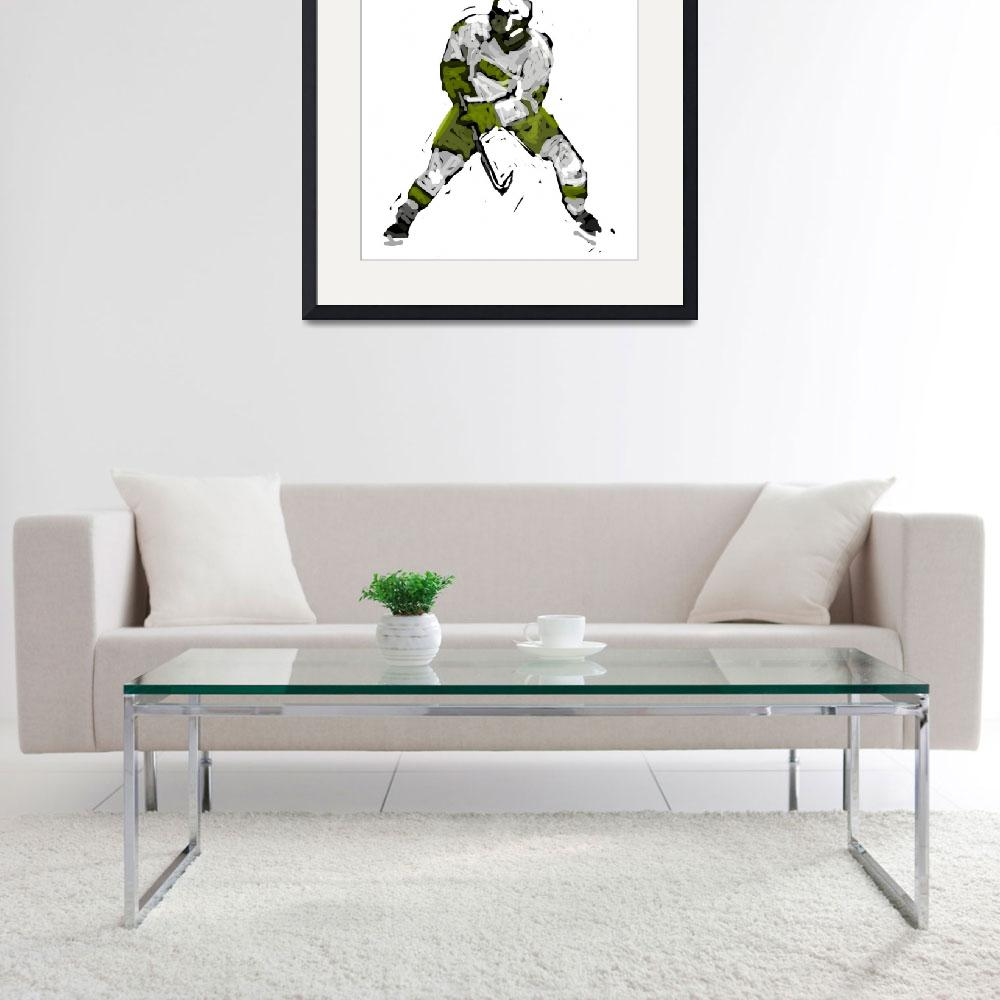"""Hockey Defenseman green white charcoal (c)&quot  (2014) by edmarion"