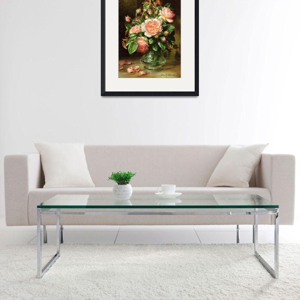 """English Elegance Roses in a Glass&quot  by fineartmasters"