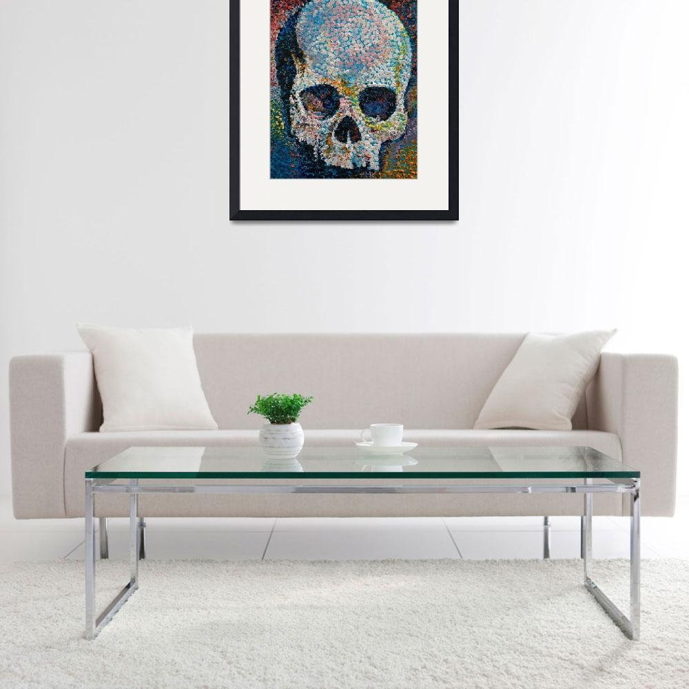 """Pointillism Skull&quot  by creese"