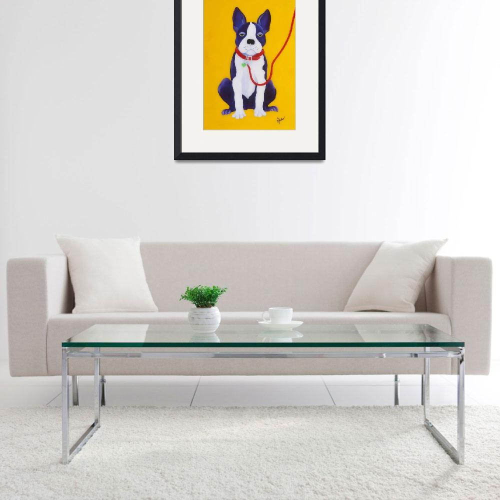 """Bored Boston Terrier&quot  (2010) by karendukes"