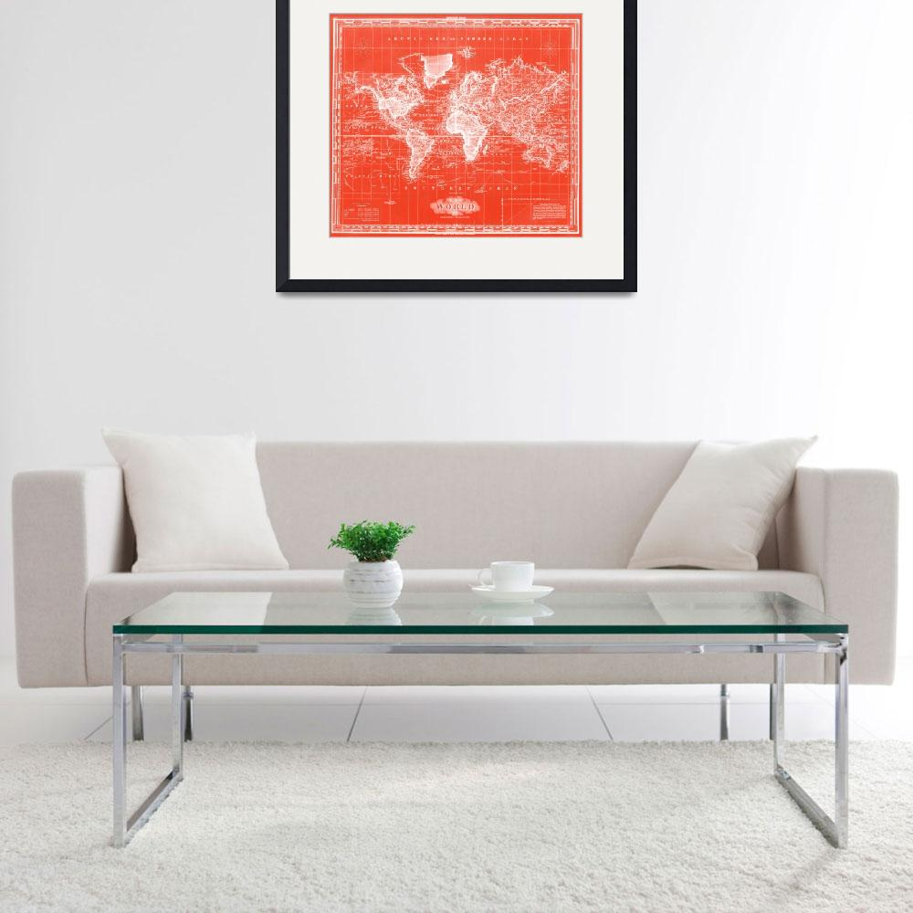 """Vintage Map of The World (1833) Red & White&quot  by Alleycatshirts"