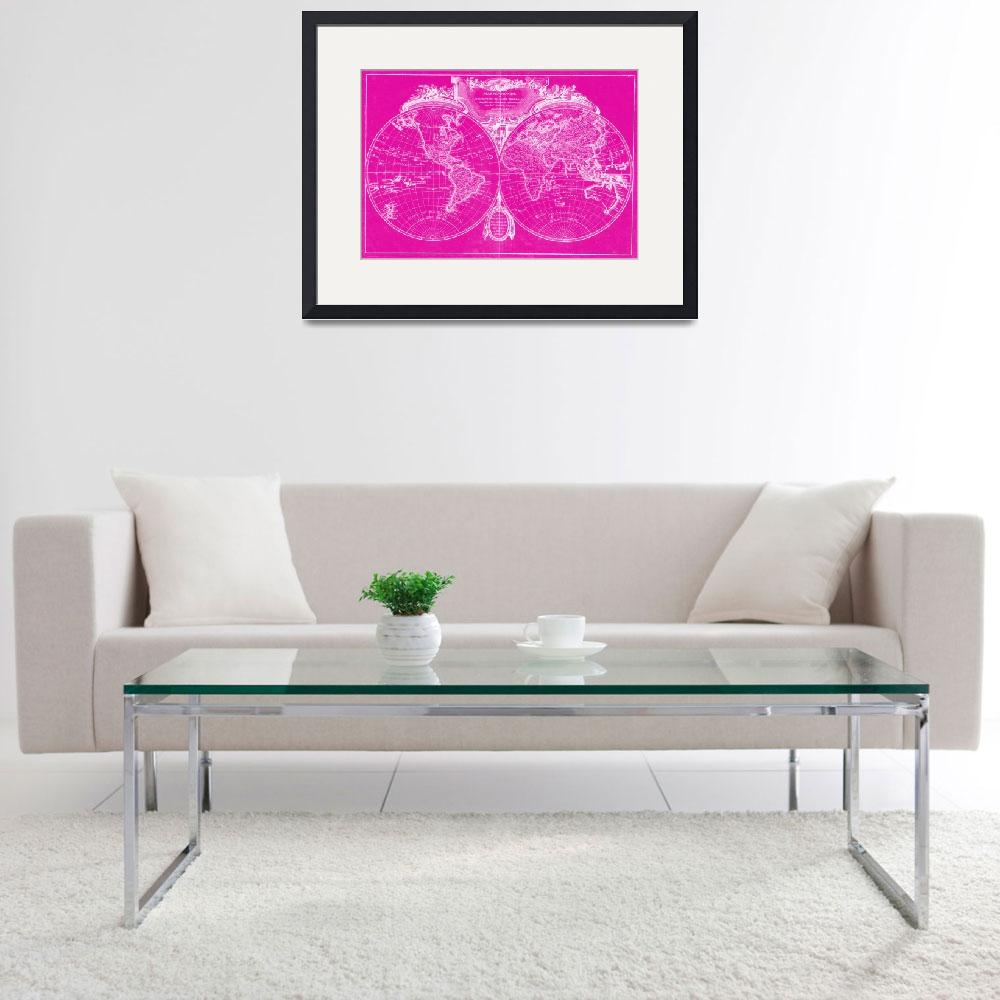 """World Map (1775) Pink & White&quot  by Alleycatshirts"