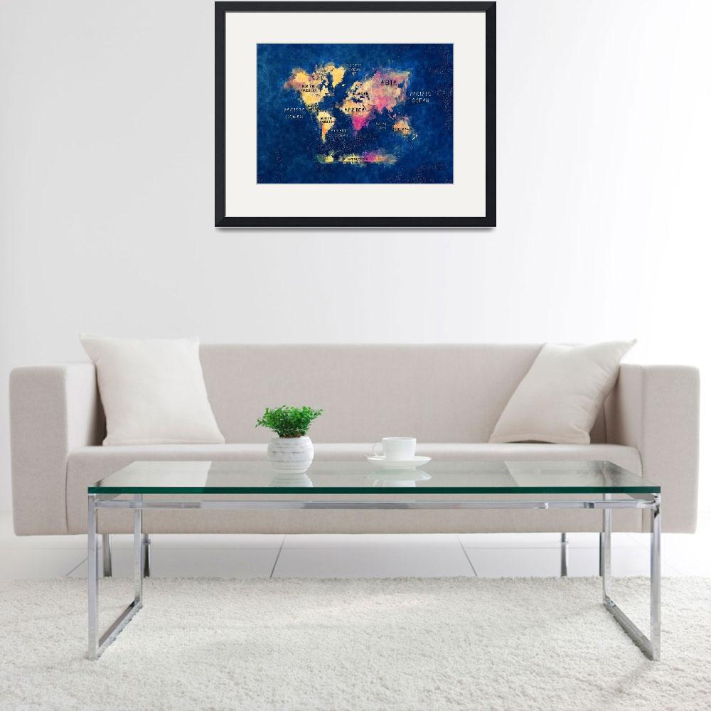"""world map watercolor blue&quot  (2016) by JBJart"