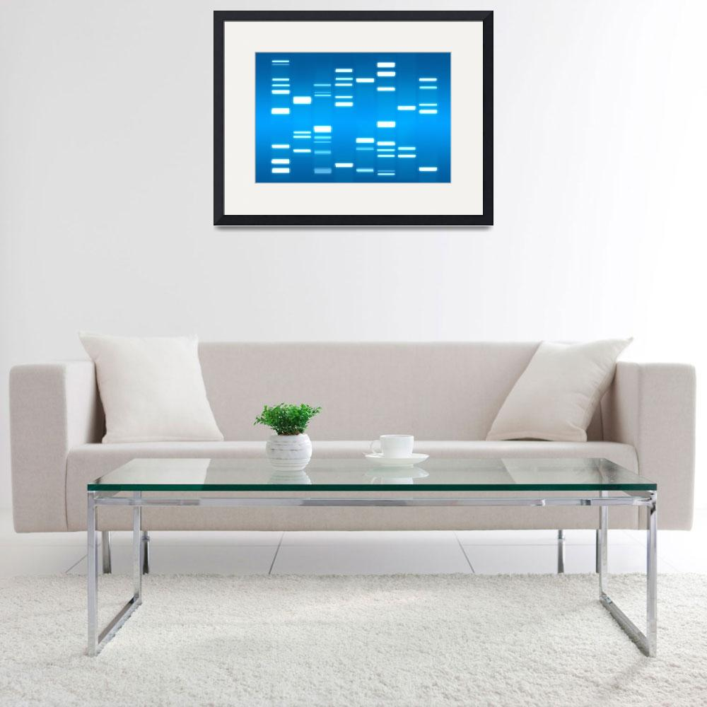 """DNA Art Sky Blue&quot  (2010) by ModernArtPrints"