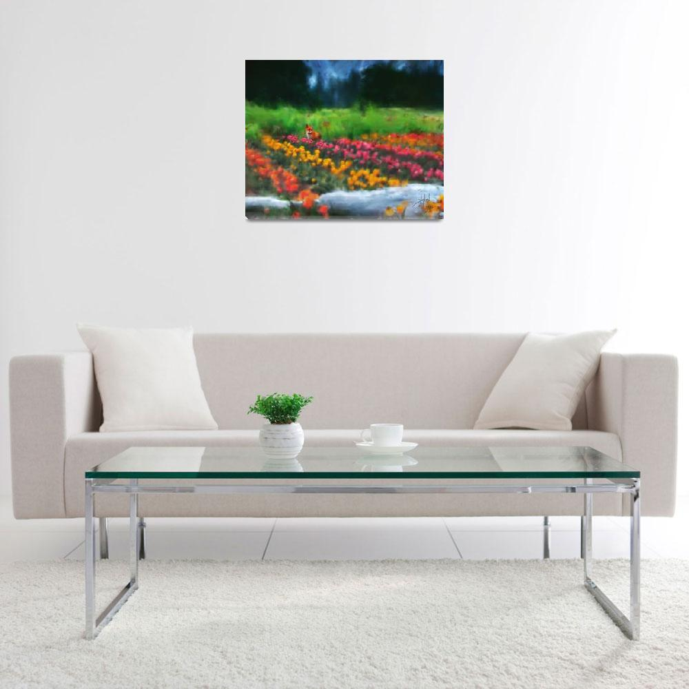 """Fox Watching Tulips&quot  (2007) by Stephensfineart"