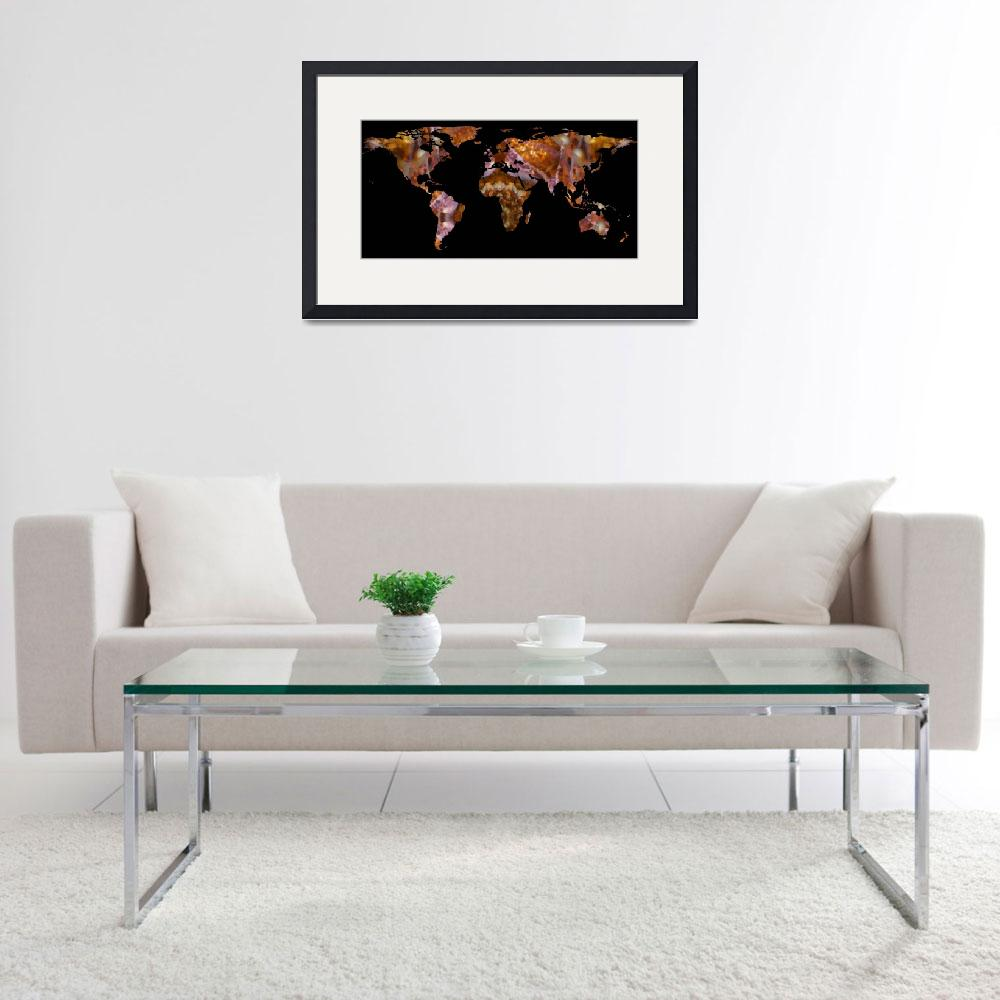 """World Map Silhouette - Eel Photographic Mandala&quot  by Alleycatshirts"