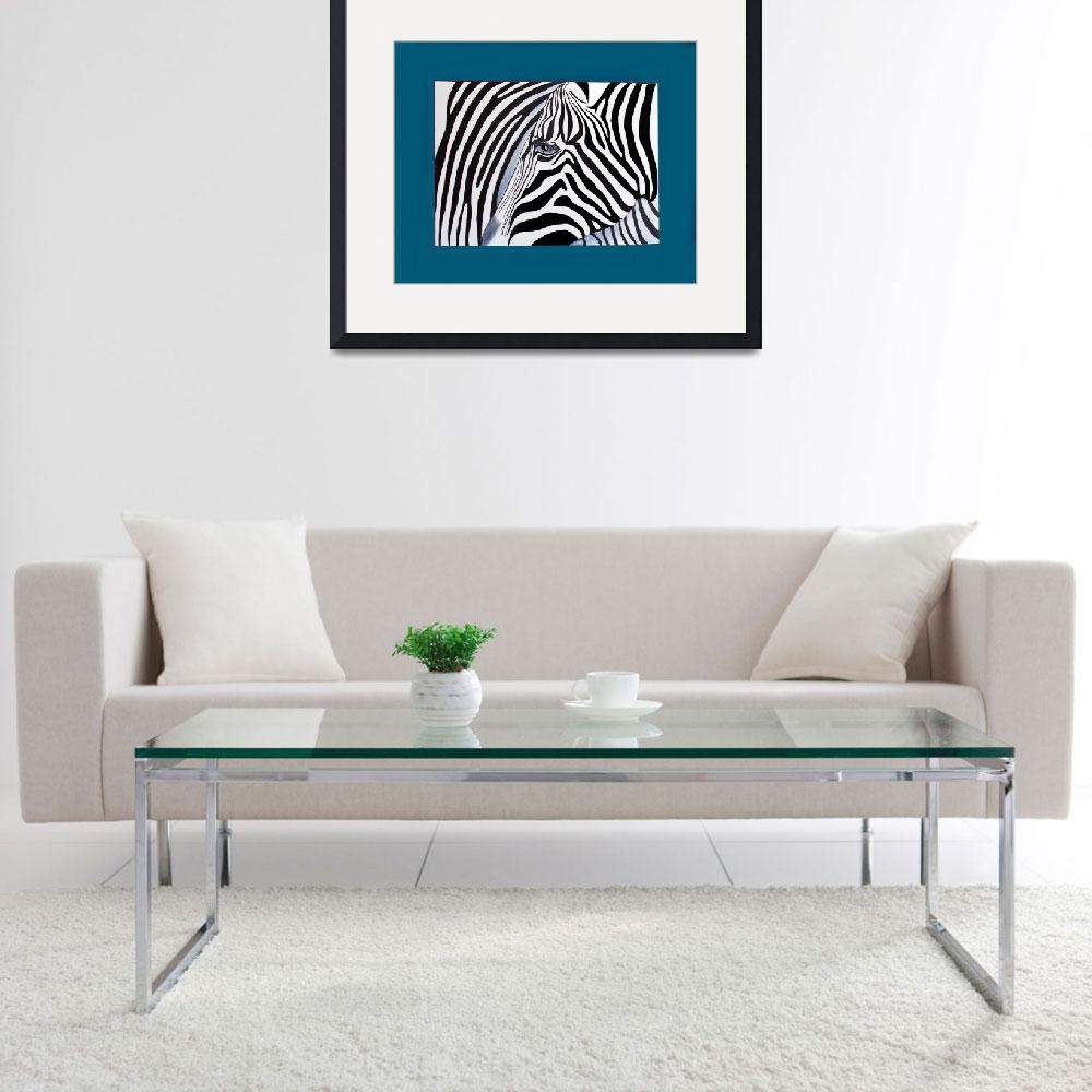 """Zebra abstract on blue&quot  (2011) by Spangles44"