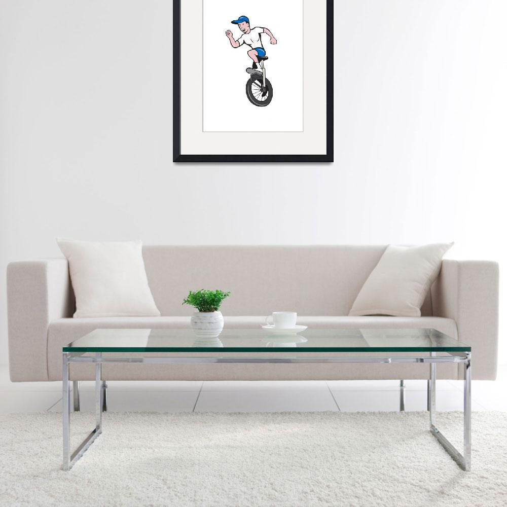 """Cyclist Riding Unicycle Cartoon&quot  (2014) by patrimonio"