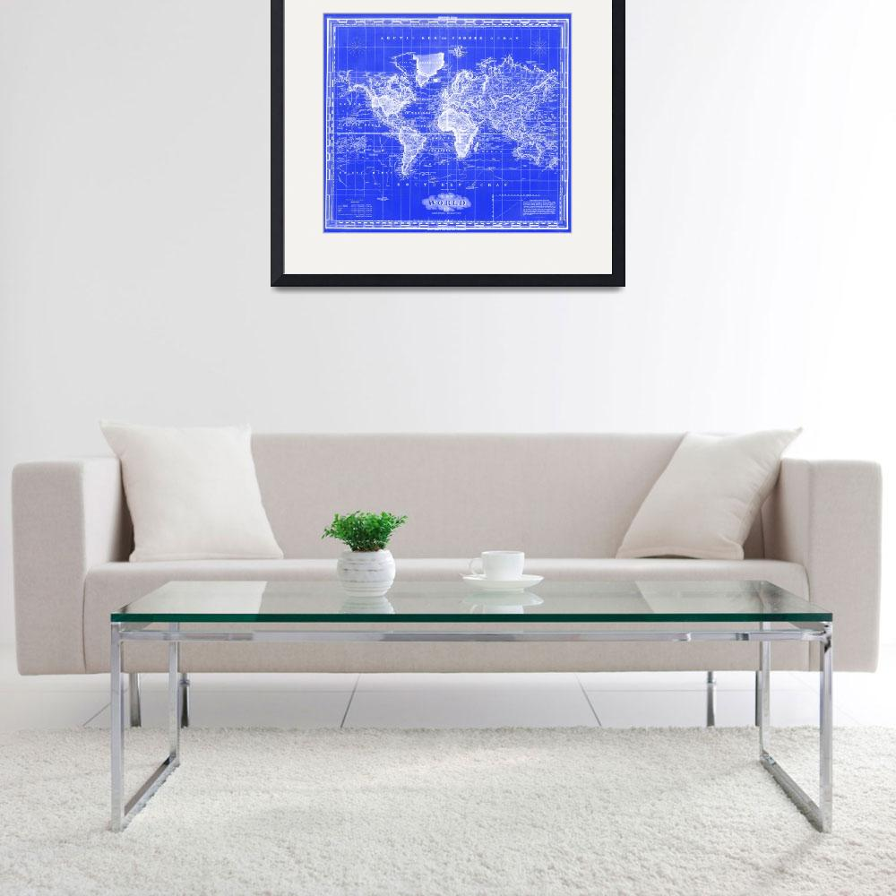 """Vintage Map of The World (1833) Blue & White&quot  by Alleycatshirts"