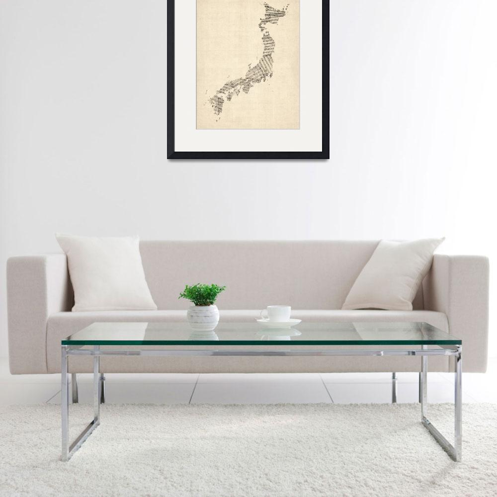 """Old Sheet Music Map of Japan&quot  by ModernArtPrints"