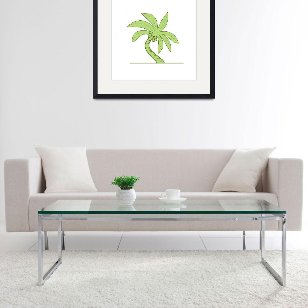"""Curved Palm Tree Mono Line&quot  (2017) by patrimonio"