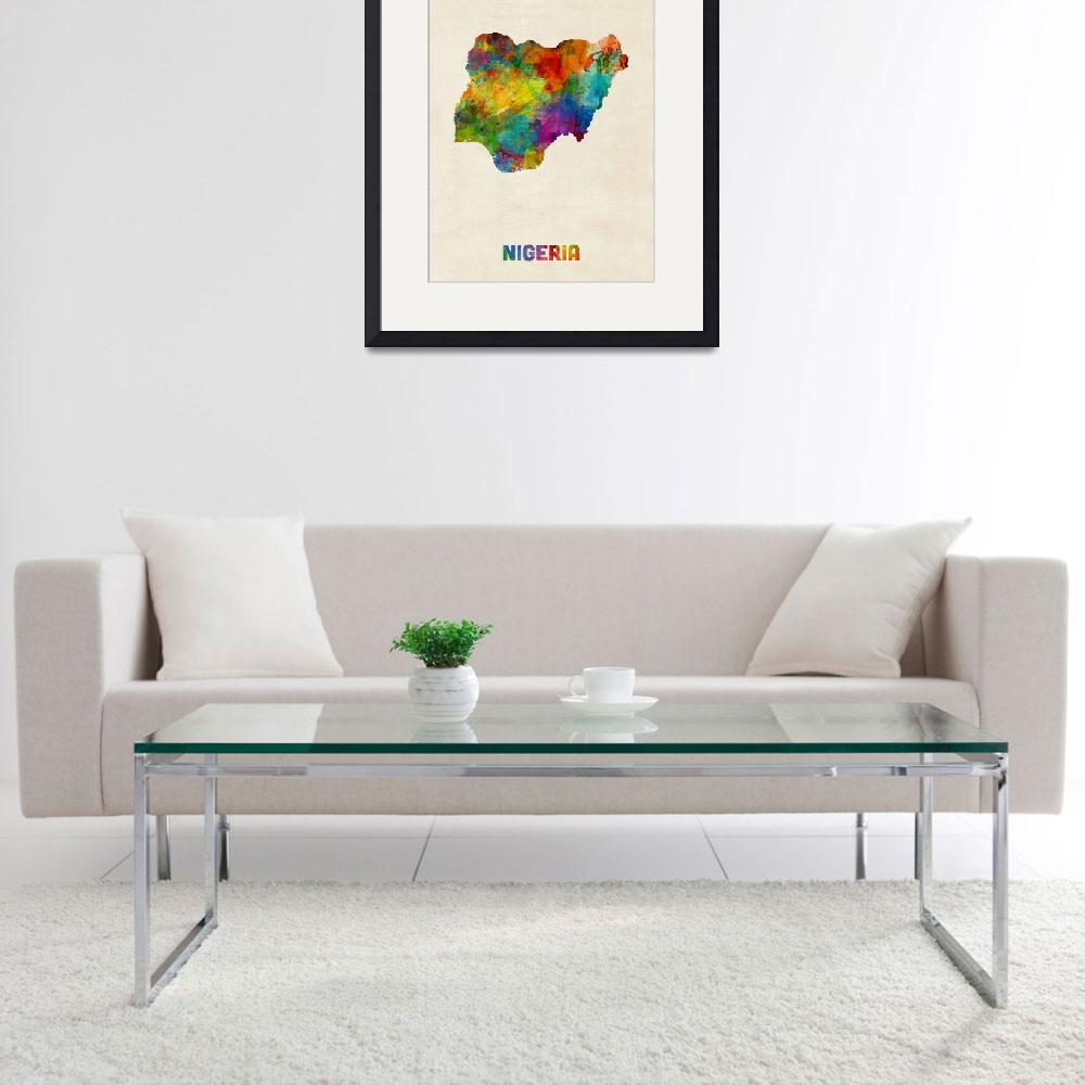 """Nigeria Watercolor Map&quot  (2015) by ModernArtPrints"