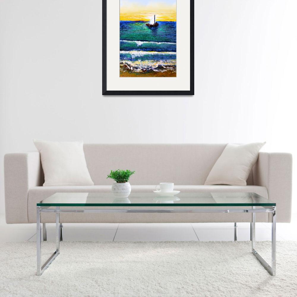 """Tropical Sunrise Sailing Seascape C3&quot  (2015) by Ricardos"